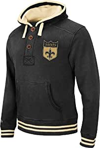 "New Orleans Saints Mitchell & Ness Vintage ""Time Out"" 1/4 Button Hooded Heavyweight Sweatshirt"