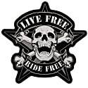 "Hot Leathers Live Free Skull Biker Patch (4"" Width x 4"" Height)"