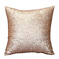Stylish Comfy Solid Color Sequins Cushion Cover Throw Pillow Case Cafe Decor by Lalang