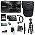 Sony DSC-WX220 DSCWX220/B 18.2 MP Digital Camera with 2.7-Inch LCD (Black) with Sony 64GB SDHC Card + Two Additional NP-BN1 Batteries and Deluxe Accessory Bundle
