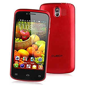 Cubot GT95 4'' Android 4.4.2 Kitkat OS Unlocked 3G Smartphone -- MTK6572 Dual Core Mobile Phone 4G ROM Dual SIM Dual Standby Dual Cameras Cellphone WIFI OTA WIFI Bluetooth Support Micro SIM Card SIM-Free 3G CellPhone - Red