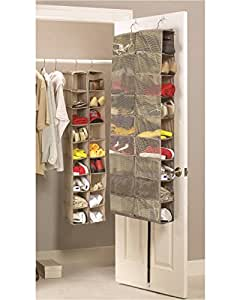 Large Heavy Duty 18 Pocket Hanging Shoe Organiser for the Wardrobe Rail or Over Door for up to 18 Pairs - Robust Oxford Canvas Type Beige Material (600D) with Ventilated Mesh Compartments - 34 x 138 x 30cm or 60 x 138 x 17cm - Shoe Storage Tidy Organizer