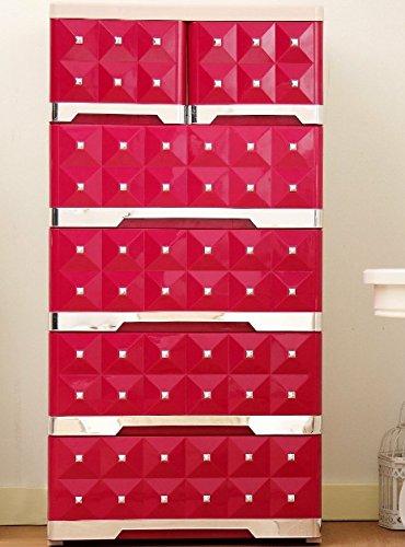 Kommode Fuchsia, 4großen und 2kleinen Schubladen, Kommode Polypropylen PP, Schrank Schlafzimmer