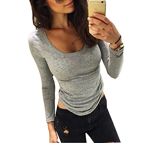 Women Loose Long Sleeve Bodycon Blouse Shirt Tops (M(UK8))