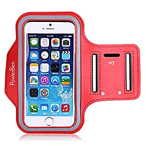 iPhone 6s plus / iPhone 6 plus Armband, PowerBen Sports Armband for Apple iPhone 6s plus / iPhone 6 plus, Key Holder, Water Resistant, Sweat-proof, Also Fits Galaxy S6/S5, Note 4, (RED)