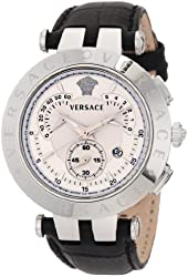 """Versace Men's 23C99D002 S009 """"V-Race"""" Watch with Leather Band"""