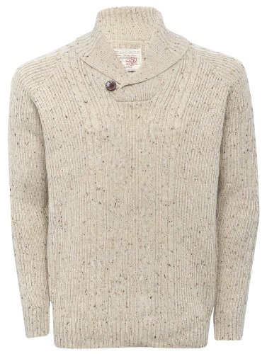 Mens Speckle Chunky Cable Knit Shawl Collar Jumper Oatmeal XXL