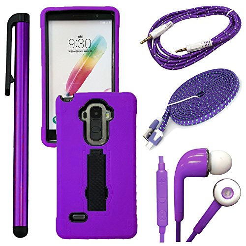 Click to buy QCO WIRELESS Rugged Shock Proof Case + 6ft Premium USB Cable + Braided Aux + In-Ear Stereo Headset & Metallic Stylus Pen Bundle for LG G Stylo LS 770 (MetroPCS / Boost)(4 Items - Kickstand Purple Kit) - From only $69.99