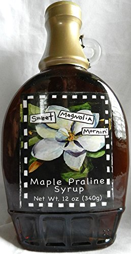 """Maple Praline Syrup, from Gullah Gourmet, """"Sweet Magnolia Mornin"""" 12 oz (340g) Great on Flap Jacks, Waffles, Pancakes and makes a great Ice Cream Topping"""