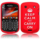 BLACKBERRY BOLD 9900 KEEP CALM & CARRY ON LASERED SILICONE SKIN CASE / COVER / SHELL - RED/WHITEby Qubits