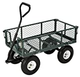 Farm & Ranch FR110-2 Steel Utility Cart with Removable Folding Sides and 10-Inch Pneumatic Tires, 400-Pound Capacity, 34-Inches by 18-Inches, Green Finish