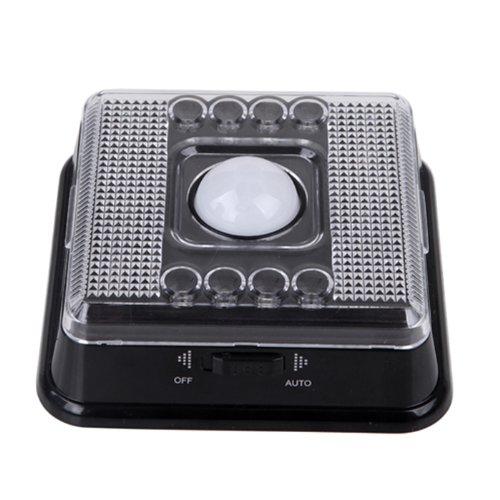 Hde Wireless 8-Led Light Lamp Pir Sensitive Auto Sensor Motion Detector Light - Black