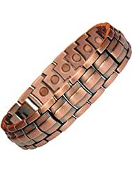 MPS Mens Copper Rich Magnetic Therapy Bracelet with clasp and 3,000 gauss Neodymium Magnets + Free Links Removal...