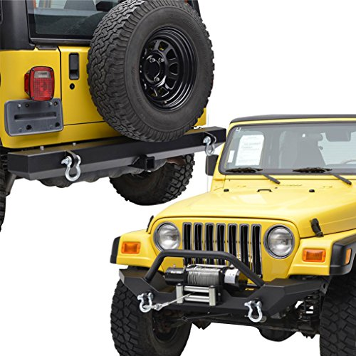 E-Autogrilles Jeep Wrangler Off Road Front and Rear Bumper Combo for TJ YJ
