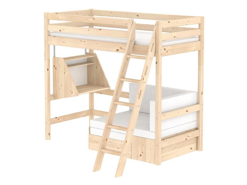 Hochbett Casa Natur mit schräger Leiter, Schreibtisch, 90x190cm, Flexa Classic jetzt bestellen