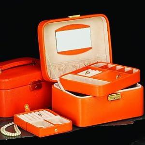 Orange Bonded Leather Jewelry Case
