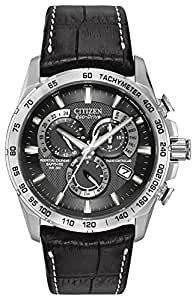 Citizen Men's Eco-Drive Chronograph Watch AT4000-02E with a Black Dial and a Black Leather Strap