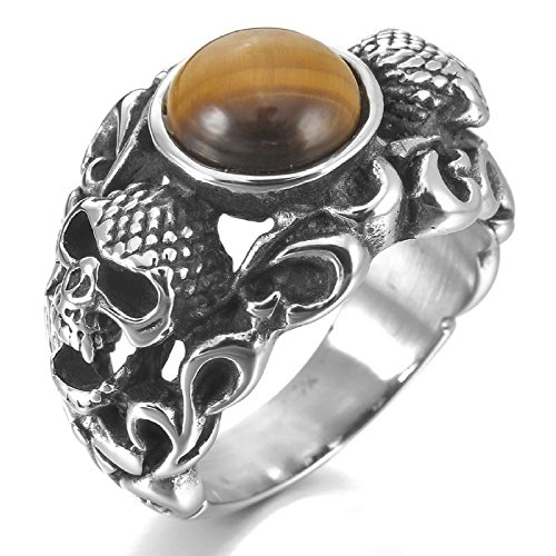 Kalendone Men's Stainless Steel Ring Silver Black Skull Tiger Eye Round Ring Gothic Ring US Size 8 Jewelry