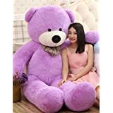 VERCART 4 Foot 47 inch Purple Giant Huge Cuddly Stuffed Animals Plush Teddy Bear Toy Doll (Color: Purple, Tamaño: 47