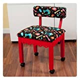 Arrow Sewing Cabinet Craft Room Furniture Wood Fabric Chair Red Black Background