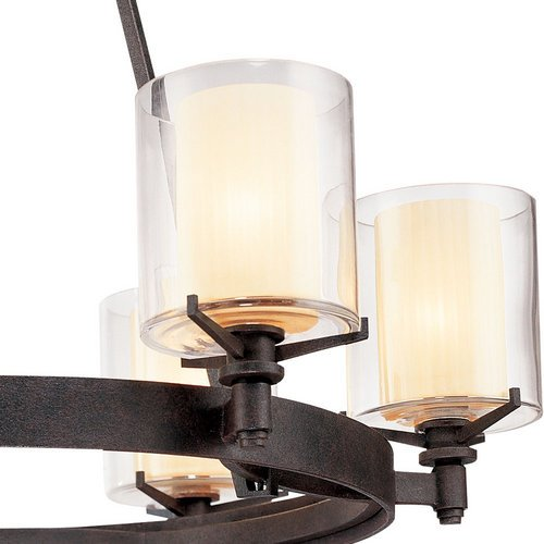 troy lighting f1716 arcadia 6 light chandelier with glass shades