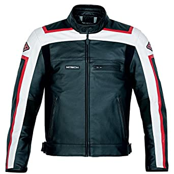 M-Tech Men's T-Sport Leather Motorcycle Jacket Medium-54 Red/Black/White