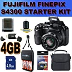 Fujifilm FinePix S4300 14 MP Digital Camera with Fujinon 26x Super Wide Angle Optical Zoom Lens and 3-Inch LCD Accessory Saver 4GB NiMH Battery/Rapid Charger Bundle BLACK