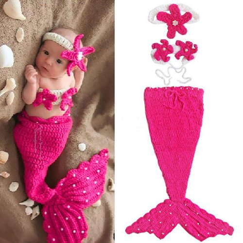 Baby Girl Crochet Pink Mermaid Tail Costume Photograpy Props