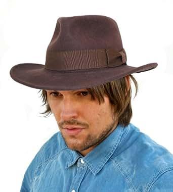 Indiana Jones Style Fedora Hat E13 (57cm, Brown)
