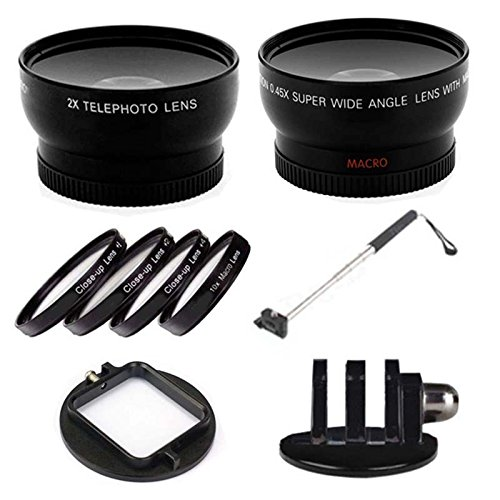 Gopro Mount With Telephoto & Wide Angle Lens, Close Up Kit With Additional Handheld Extendable Monopod For Gopro 2 3 3+