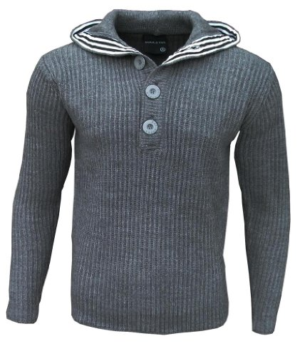 Soul Star Men's Flock Hooded Hoodie Hoody Knitted Jumper grey Extra Large
