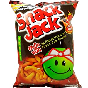 Snack-jack Green Pea Snack With Chicken Habanero Flavor Spicy Net Wt 70 G 247 Oz X 1 Bag by Hanami Foods Co.,Ltd Thailand.