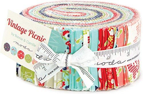 Moda Pre Cut Fabrics Bonnie & Camille Vintage Picnic Jelly Roll 40 Strips