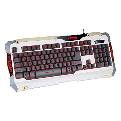 New Launch!! FOREV High Quality Ghost Shark Steel Sheet LED Breathable Backlit Computer Keyboard Steel Plate Wired Gaming Keyboard (white)