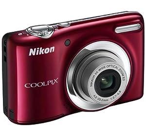 Nikon Coolpix L25 Digitalkamera rot (10 Megapixel, 5-fach opt. Zoom, 7,5 cm (3 Zoll) Display, bildstabilisiert) Kit inkl. 4GB-Speicherkarte und Tasche