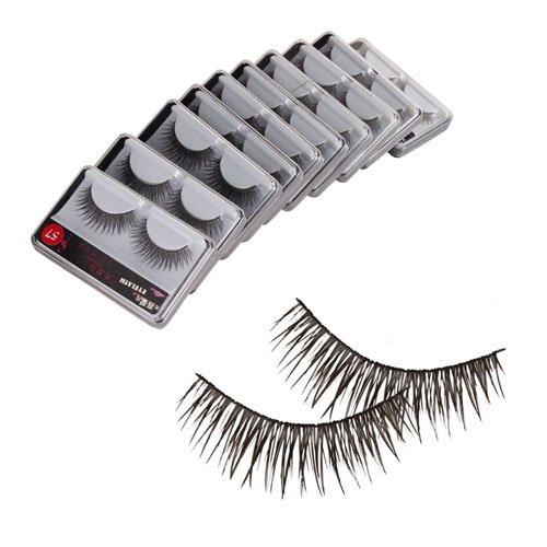 Taobaopit New 10 Pair Reusable Charming Cross Fake False Eyelashes Glue Adhesives Eye Lashes Makeup Black 57