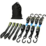 Sunferno Ratchet Straps Tie Down 3300Lbs Break Strength, 15 Foot - Exceptionally Heavy Duty to Safely Move your Motorcycle and Cargo - Includes 4 pack Soft Loop Straps - Black (4 pack)