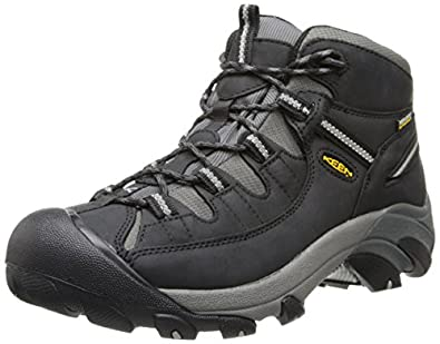 KEEN Men's Targhee II Mid Waterproof Hiking Boot,Black/Drizzle,7 M US