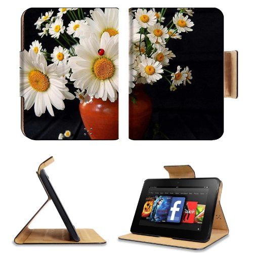 Daisies Flowers Bouquet Vase Ladybug Summer Amazon Kindle Fire Hd 7 [2012 Version Only September 14, 2012] Flip Case Stand Magnetic Cover Open Ports Customized Made To Order Support Ready Premium Deluxe Pu Leather 7 11/16 Inch (195Mm) X 5 11/16 Inch (145M front-951386