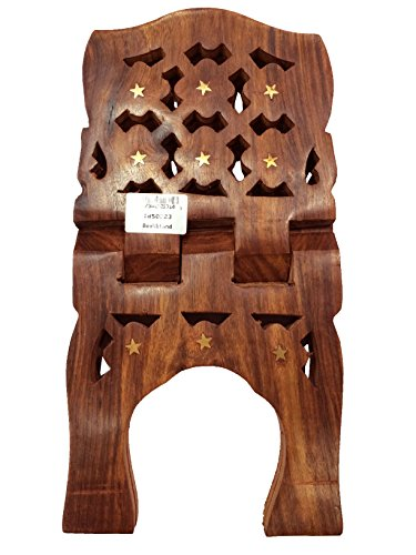 Novelty Exquisite Hand Carved Wooden Folding Religious Book Stand Holder Flower Design Curved