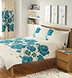 CREAM TEAL & LIME DOUBLE DUVET COVER BED SET