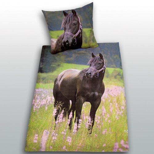 bettw sche mit pferdemotiv traumhaft sch ne pferde bettw sche. Black Bedroom Furniture Sets. Home Design Ideas
