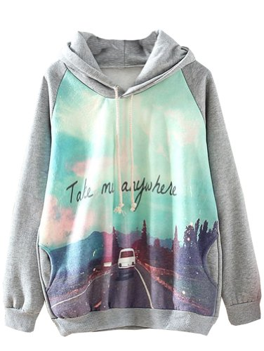 Sheinside Grey Car Print Sweatshirt