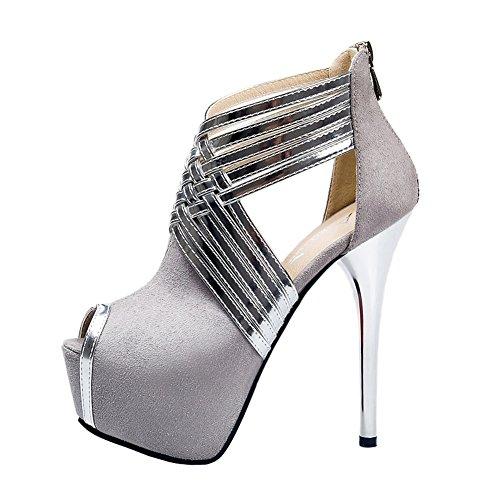 Fereshte Womens Sexy Fashion Peep-toe Stripe Sandals Super High Heels Gray EU Size 39 - US B(M) 8