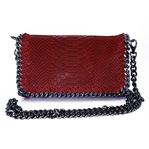 Borsa Donna A Tracolla In Vera Pelle Stampa Pitone Colore Rosso - Pelletteria Toscana Made In Italy - Borsa Donna