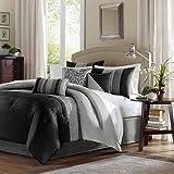 Amherst 7 Piece Comforter Set Color: Black/Grey, Size: Queen