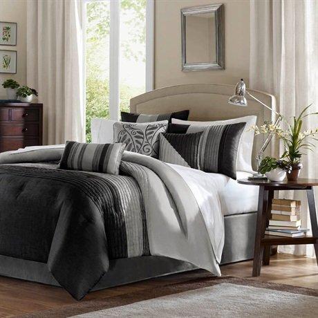 Amherst 7 Piece Comforter Set Color: Black/Grey, Size: Queen front-1071987