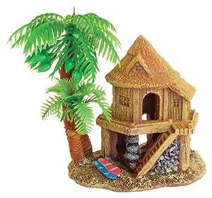 Beach house with palms aquarium ornament fish for Fish tank decorations amazon