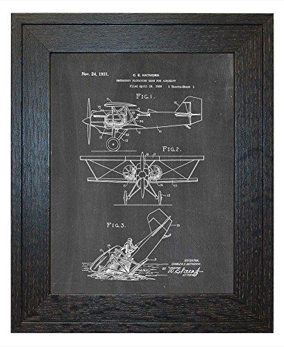emergency-flotation-gear-for-aircraft-patent-art-chalkboard-print-in-a-rustic-oak-wood-frame-18-x-24