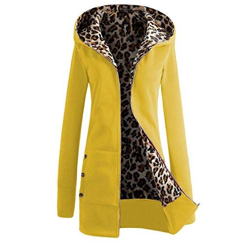 Le donne Plus size cappotto, FEITONG velluto ispessito maglione Leopard Pulloveralda (M, Giallo)